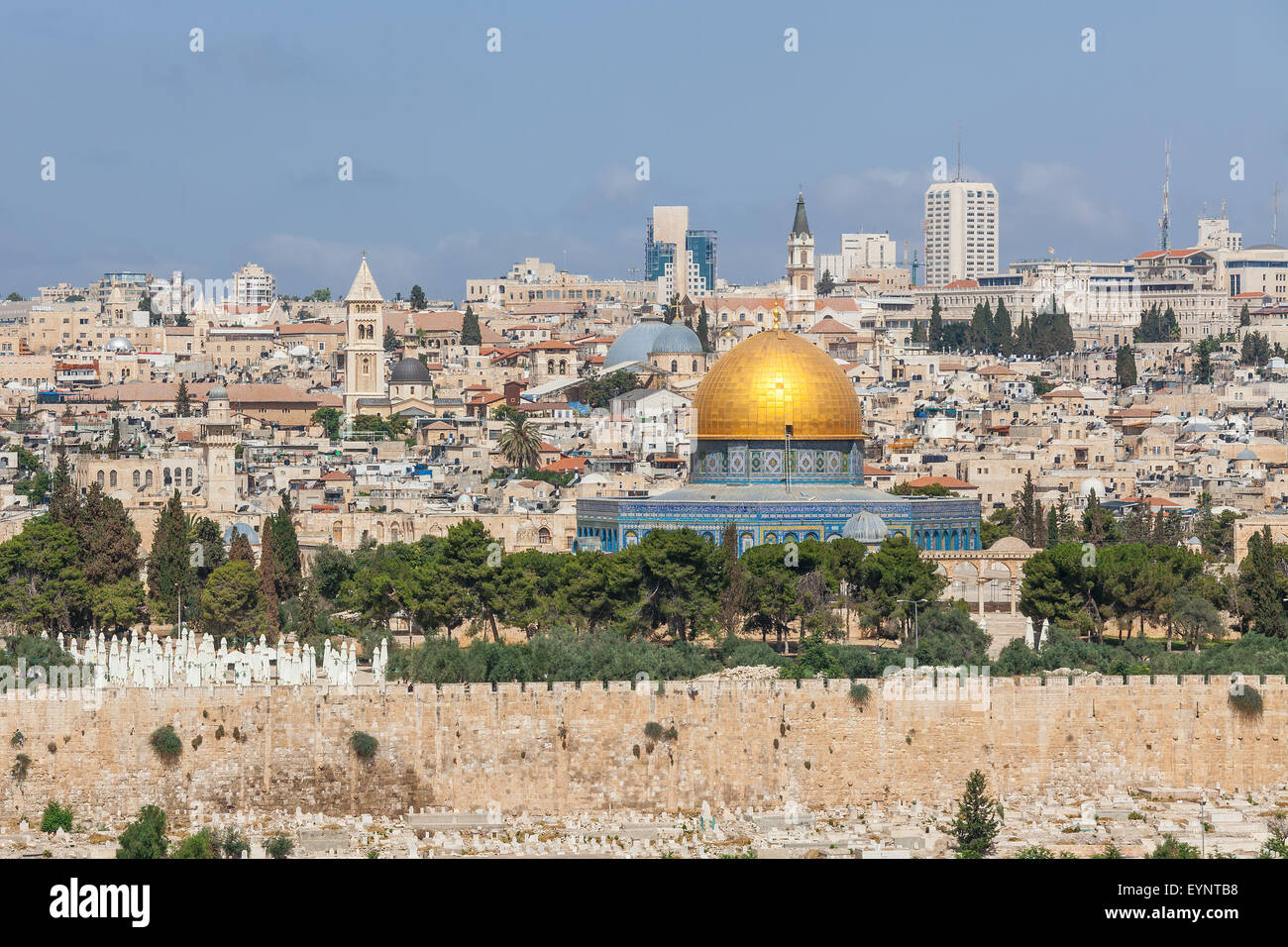View on Old City and Dome of the Rock Mosque in Jerusalem, Israel. - Stock Image