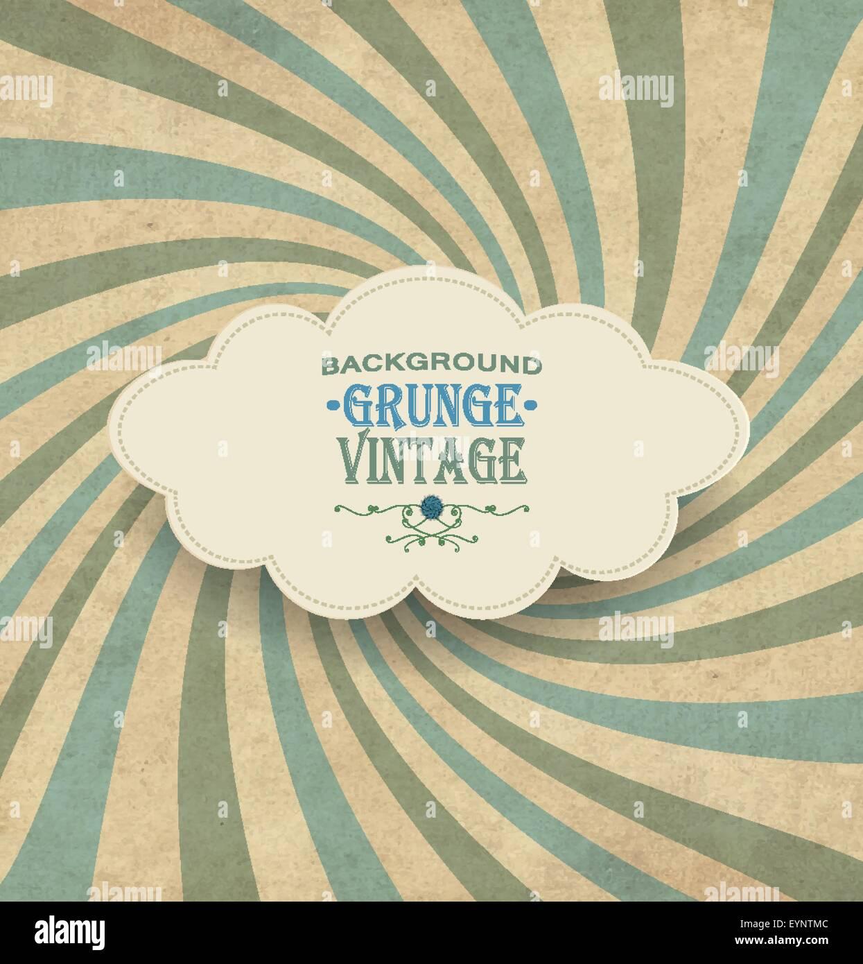 Vintage Frame With Grunge Radiant Background And Title Inscription - Stock Image