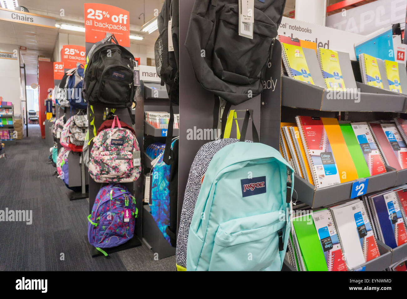 back to school supplies are seen in a staples store in new york on stock photo 85918349 alamy. Black Bedroom Furniture Sets. Home Design Ideas