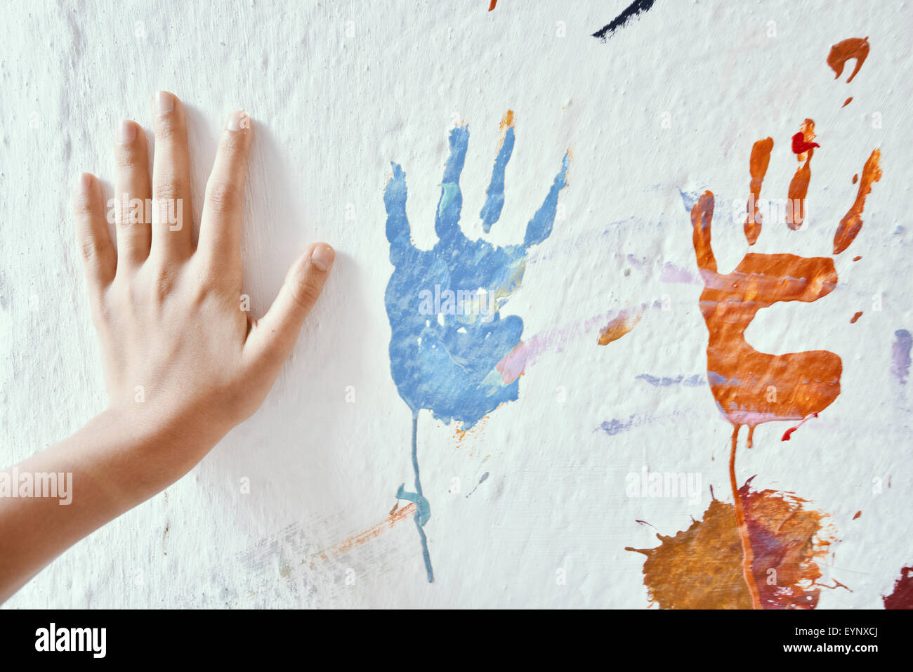 Painting Wall With Hands Stock Photo 85918914 Alamy
