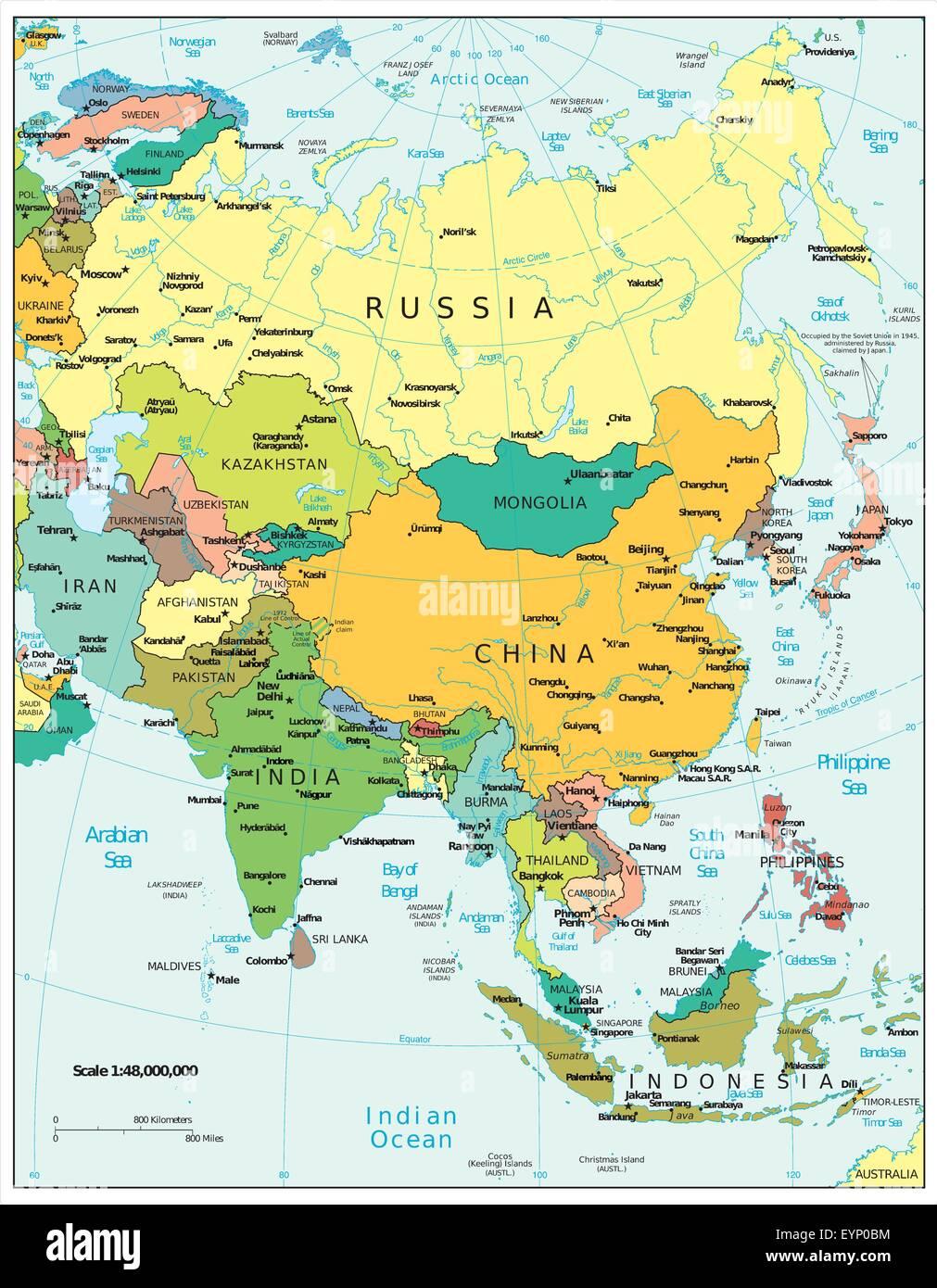 Asia political map Stock Vector Art & Illustration, Vector ...
