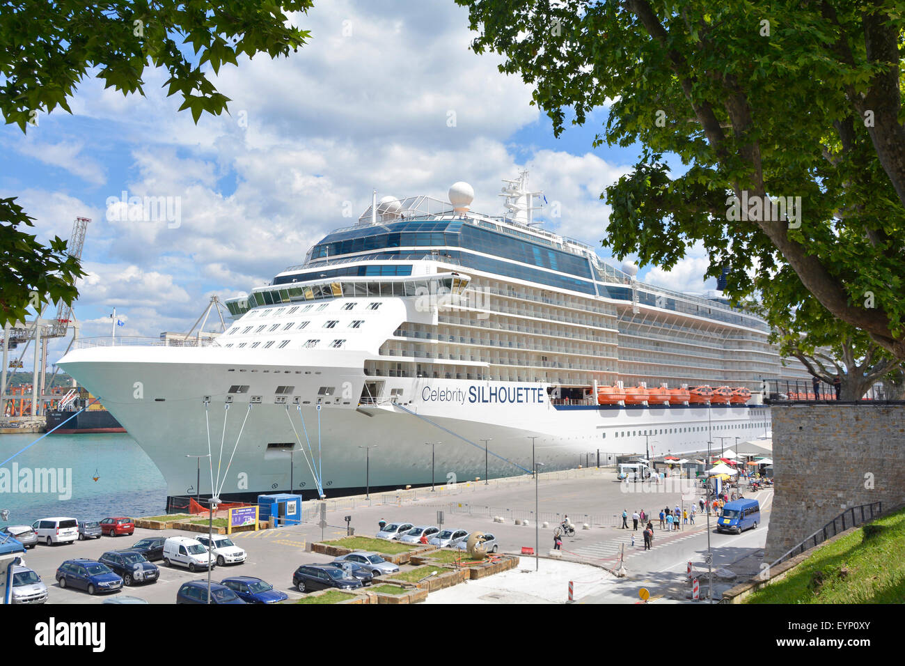 Cruise ship liner Celebrity Silhouette moored in the Port of Koper in Slovenia part of an Adriatic cruisin itinerary - Stock Image