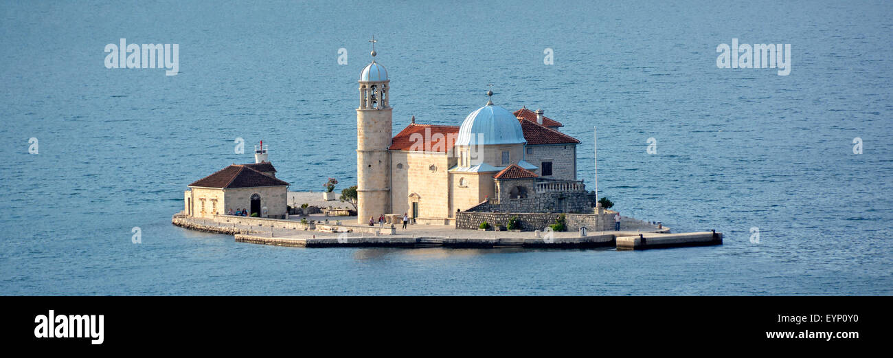Bay of Kotor Montenegro tourists visiting Our Lady of the Rocks & Catholic church on an artificial island in - Stock Image