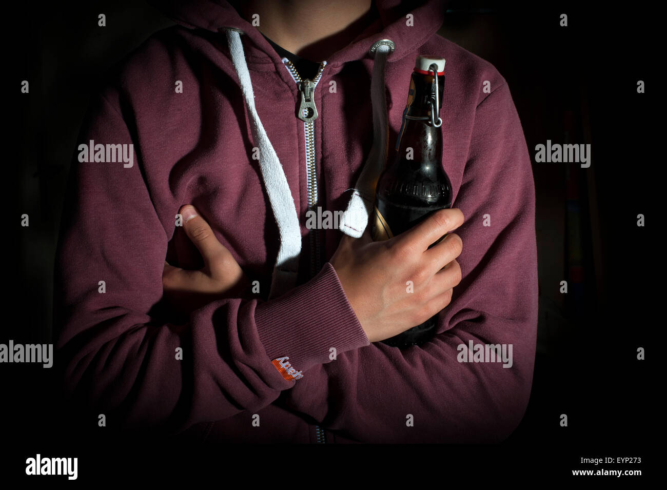 Teenager with Alcohol - Stock Image