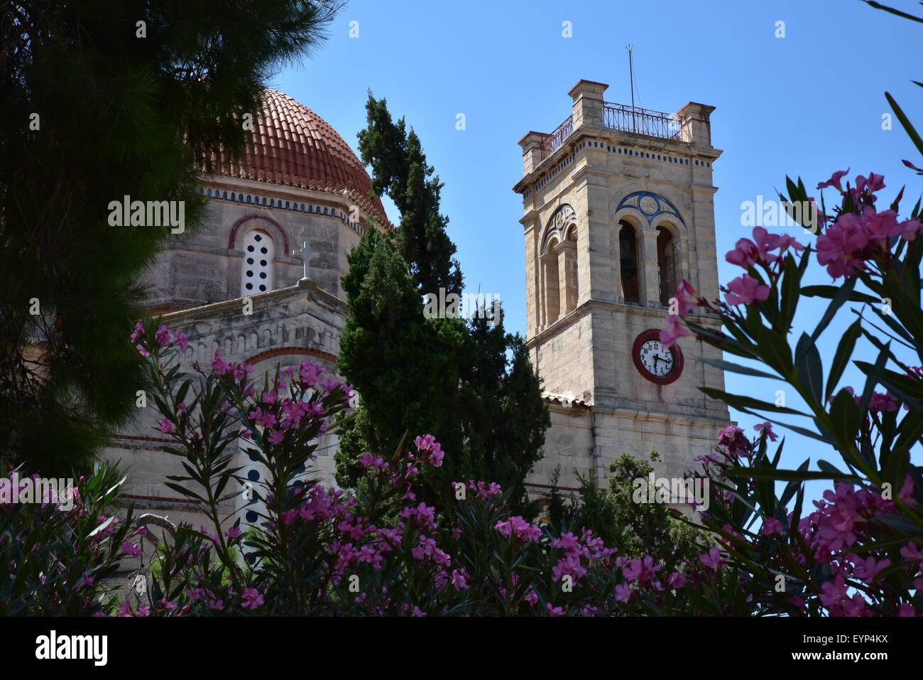 Church bell tower on Aegina island Greece - Stock Image