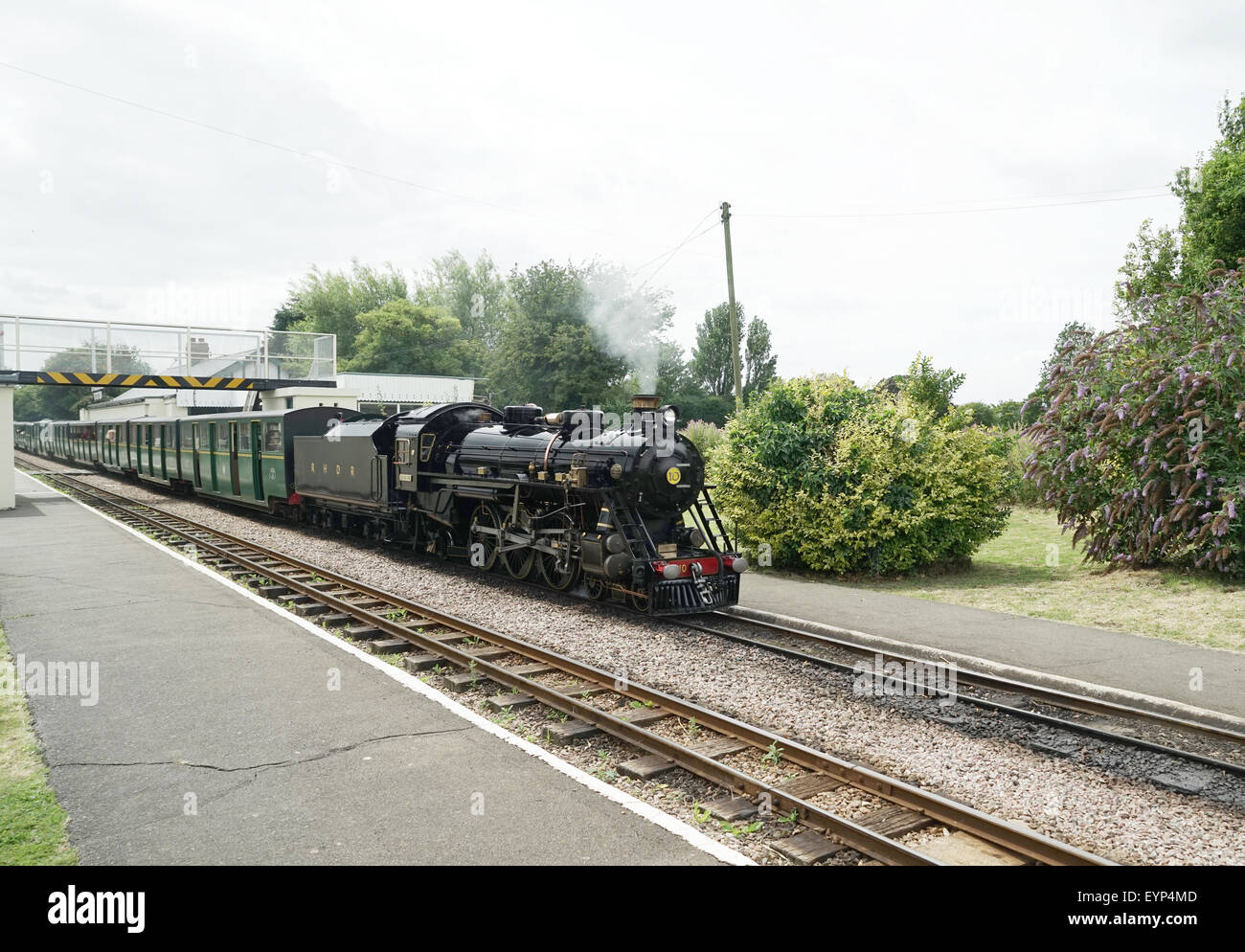 R.H.& D.R. Steam Locomotive No.10 'Dr Syn' at Dymchurch Station -1 - Stock Image
