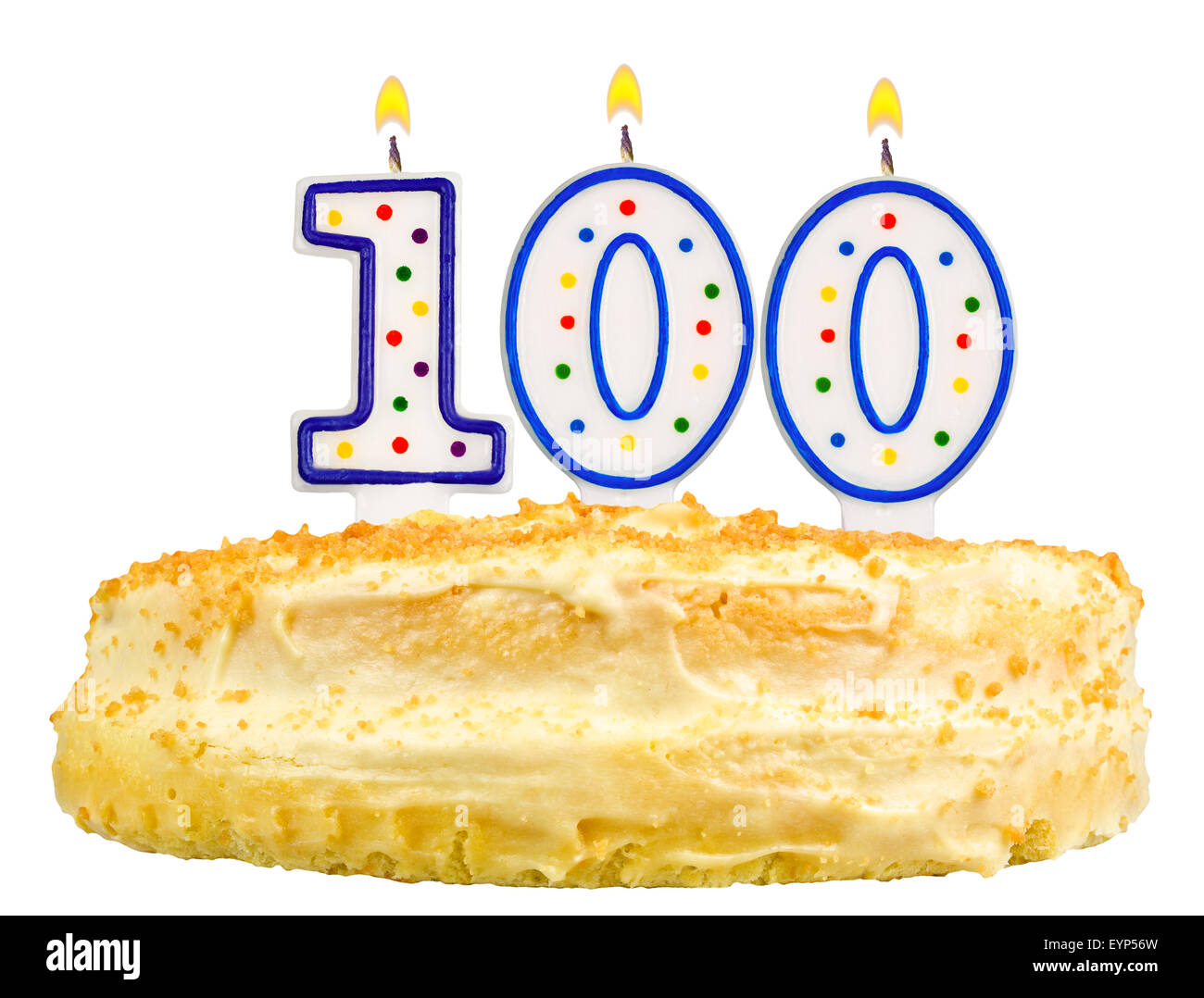 Birthday Cake With Candles Number One Hundred Isolated On White Background