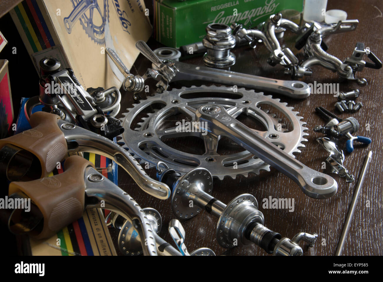 Classic vintage Campagnolo cycle components. - Stock Image