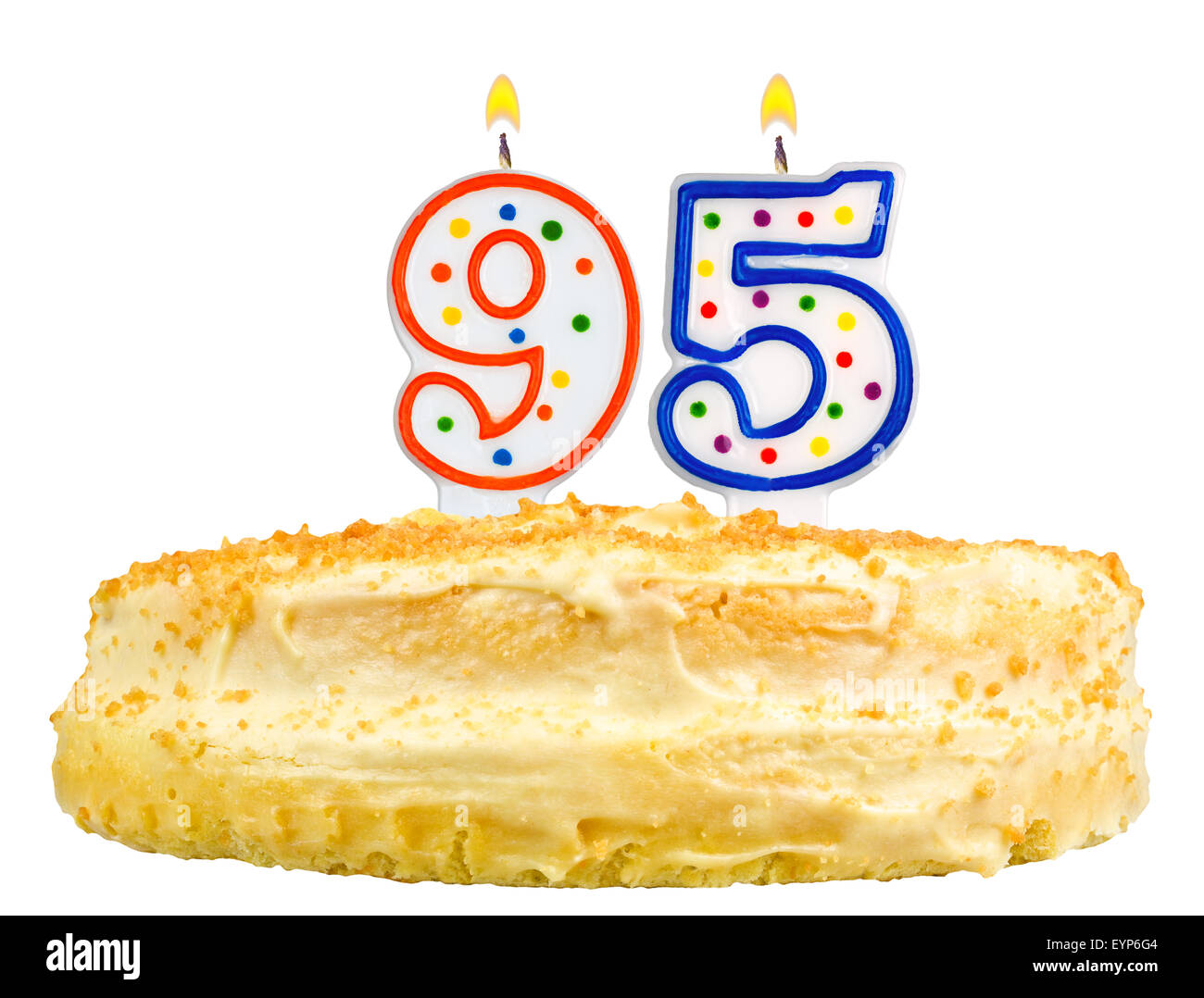 Diagram Birthday Cake Candles Number 95 Isolated Stock Photo