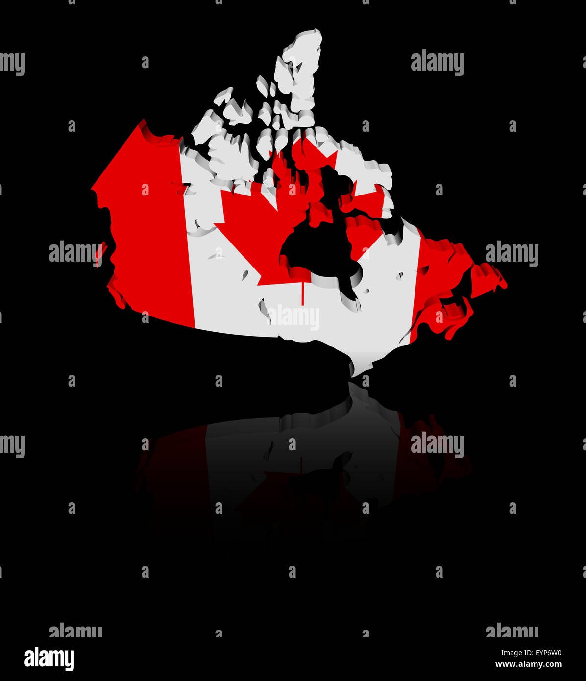 Canada Map Flag.Canada Map Flag With Reflection Illustration Stock Photo 85925532