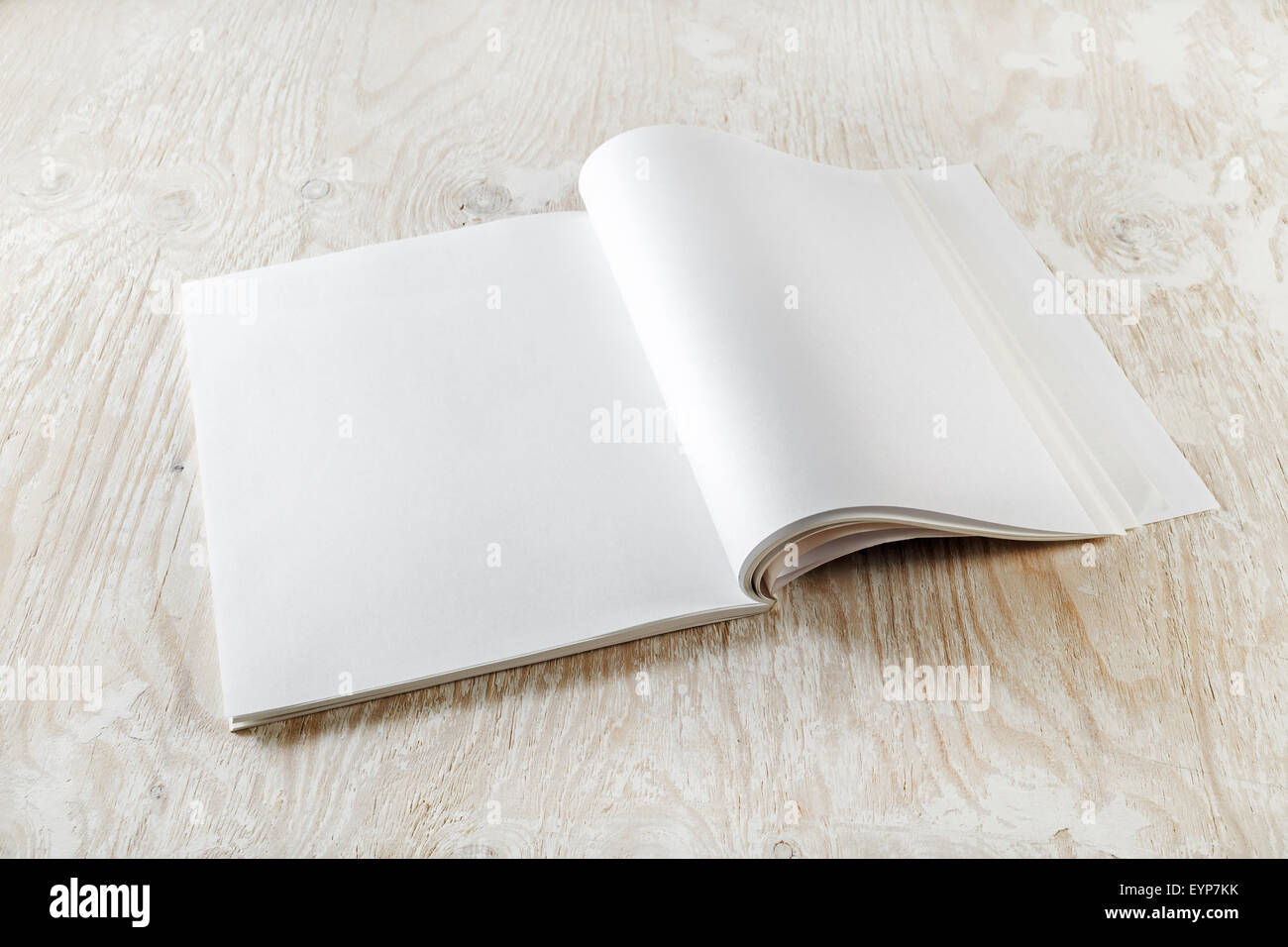 photo of blank open book on light wooden background with soft stock