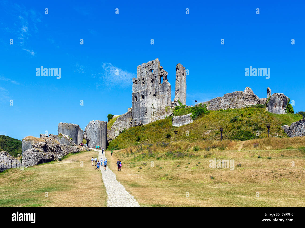 The ruins of Corfe Castle from the outer bailey, Isle of Purbeck, Dorset, England, UK Stock Photo