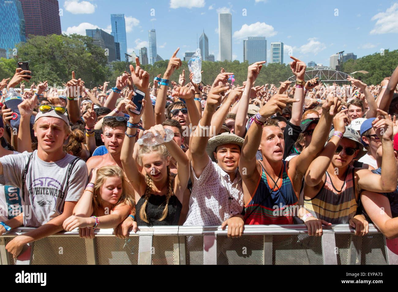 Chicago, Illinois, USA. 1st Aug, 2015. Fans enjoy Travis Scott at Perry's Stage at Grant Park during the Lollapalooza - Stock Image