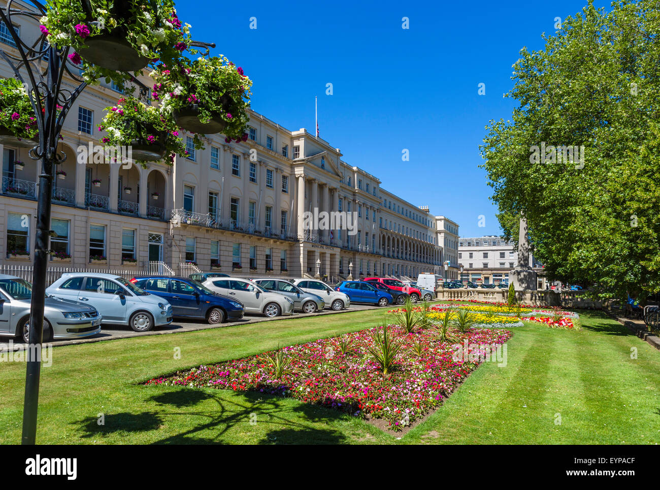 Regency architecture on The Promenade with the Municipal Offices to the left, Cheltenham, Gloucestershire, England, - Stock Image