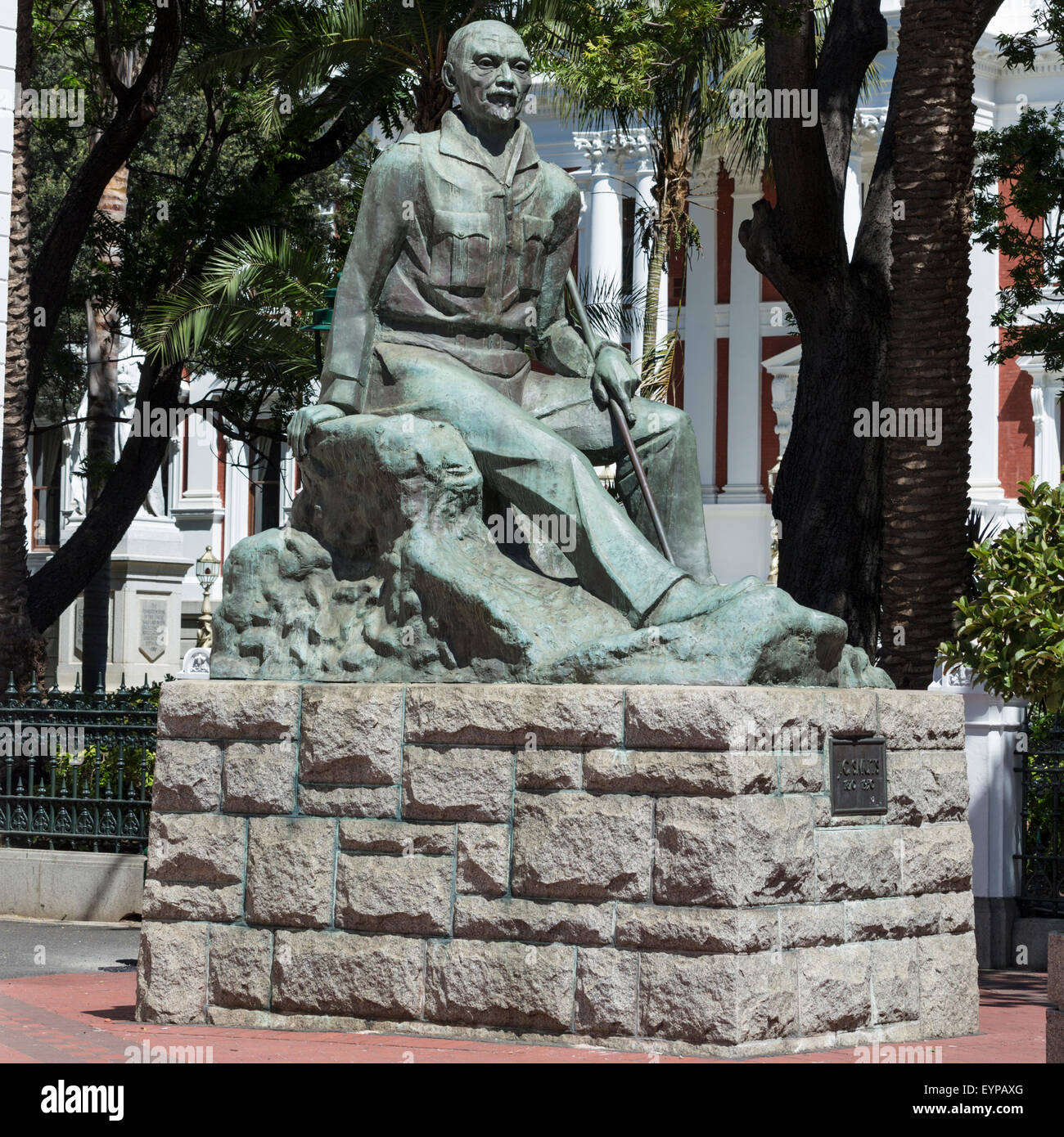 Statue of John Christian Smuts at foot of Government Ave and head of Adderley St near Parliament, Cape Town, South - Stock Image