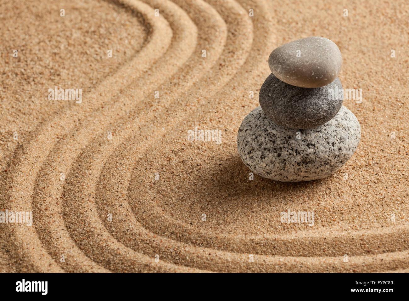 Japanese Zen stone garden - Stock Image