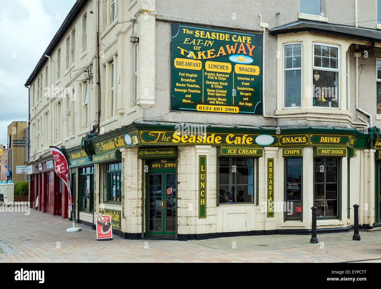 A traditional seaside cafe in New Brighton on the Wirral, Merseyside, England, UK - Stock Image