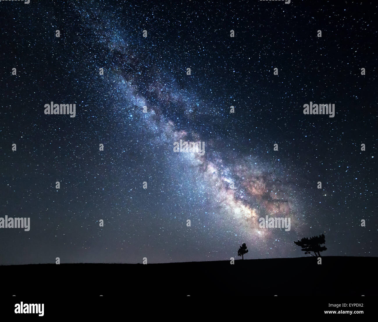 Milky Way. Beautiful summer night sky with stars in Crimea - Stock Image
