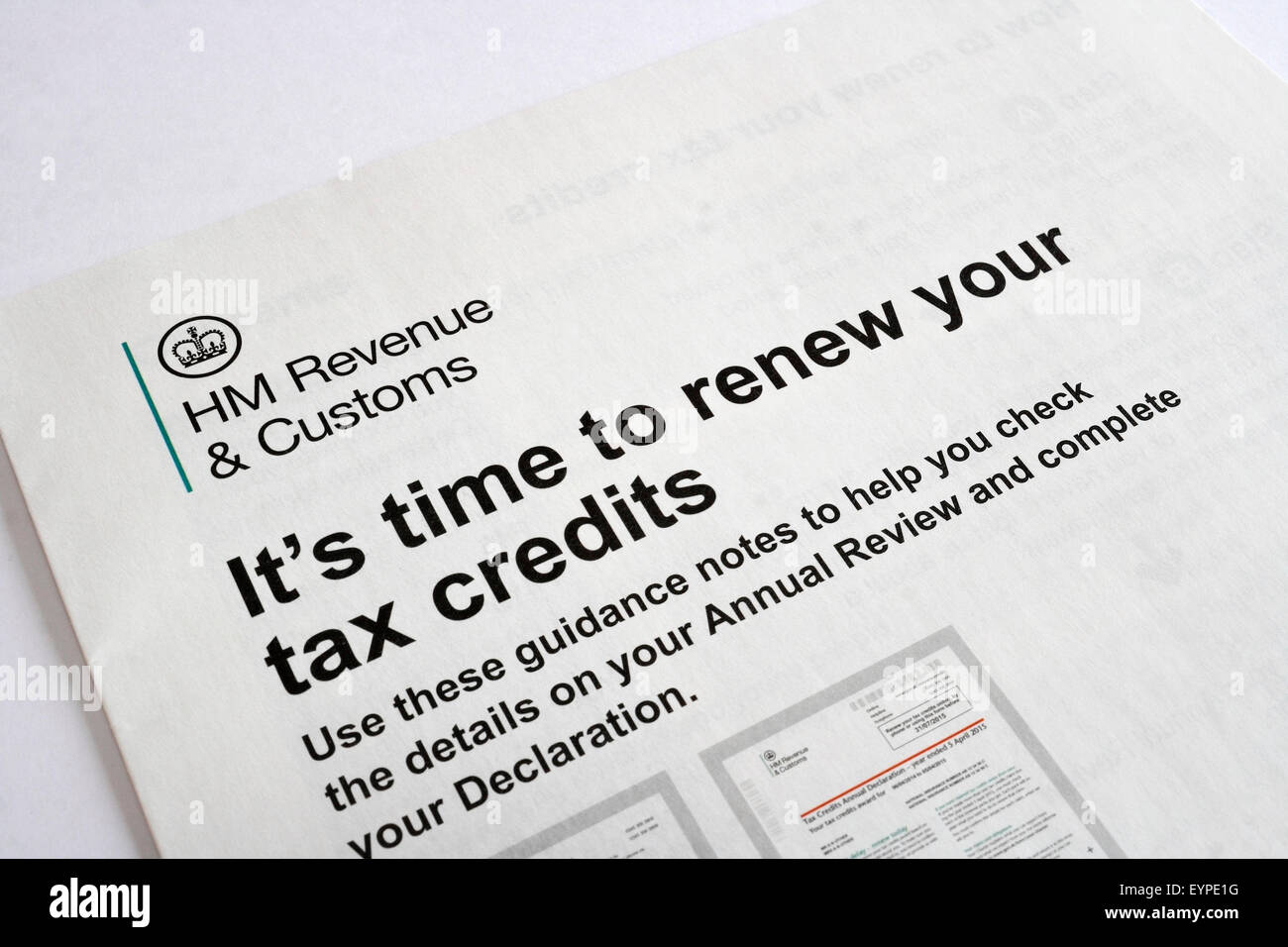 Tax Credits renew form UK - Stock Image