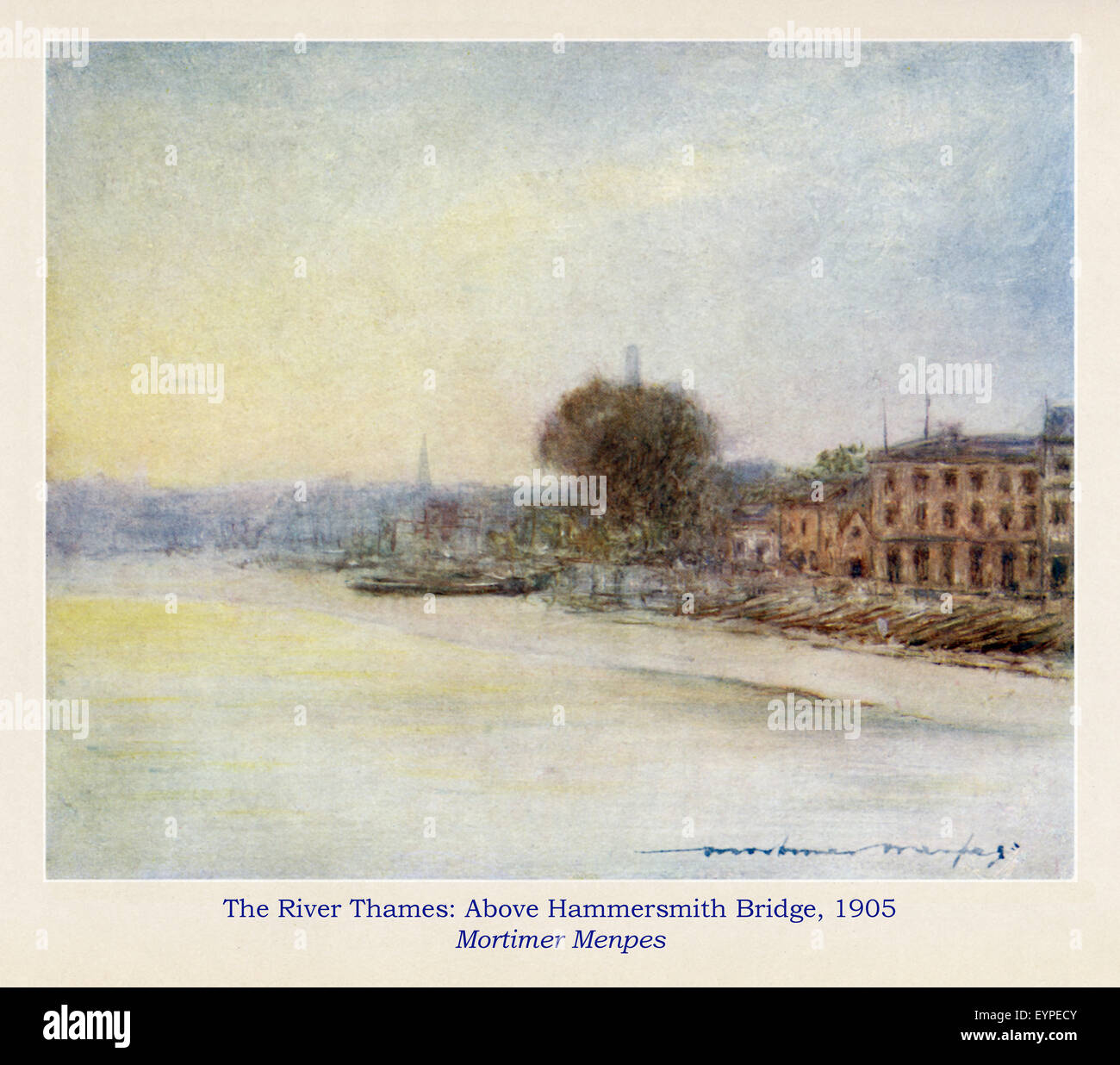 River Thames, Above Hammersmith Bridge, 1905 Edwardian watercolour of the wharves and buildings on the Chiswick - Stock Image