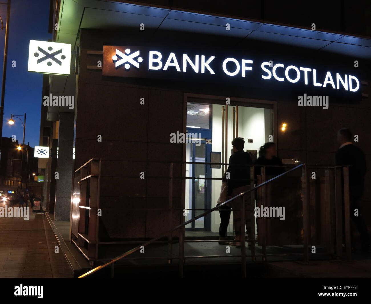 Bank of Scotland branch at night, with few lights on,Edinburgh,Scotland,UK Stock Photo