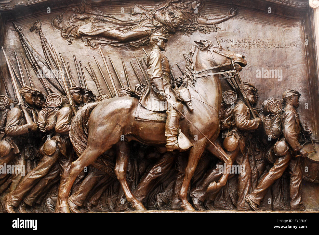 A monument to the Massachusetts 54th, the first all Aftrican Ameircan fighting unit in Ameican history fighting - Stock Image