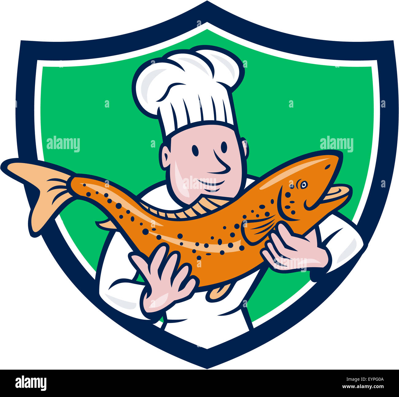 Illustration of a chef cook handling holding up a trout salmon fish ... for cooked salmon clipart  113lpg