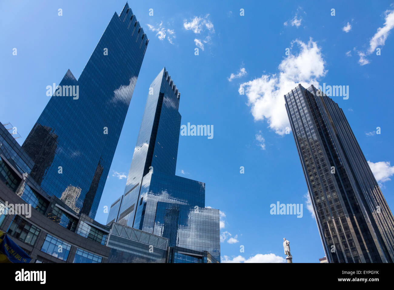 Time Warner Center at Columbus Circle in New York City, showing statue of Columbus Stock Photo