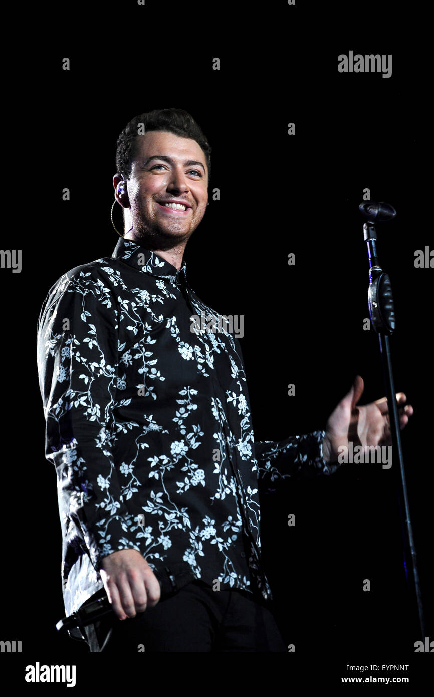 Grant Park. 01st Aug, 2015. August 01, 2015. - Sam Smith performing live during the Lollapalooza Festival 2015 at - Stock Image