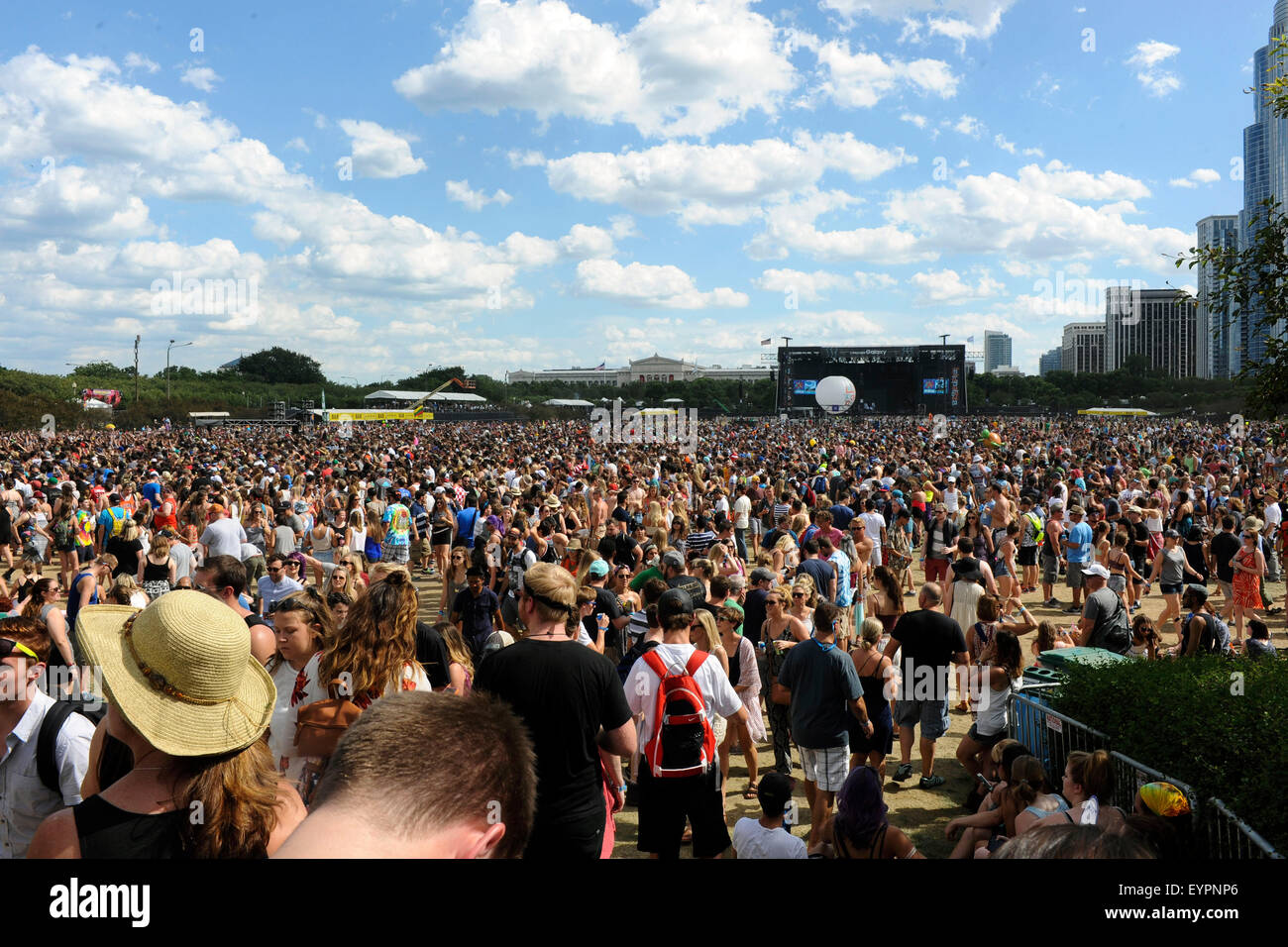 August 01, 2015. - People at the Lollapalooza Festival 2015 in Grant Park. Chicago, USA/picture alliance - Stock Image