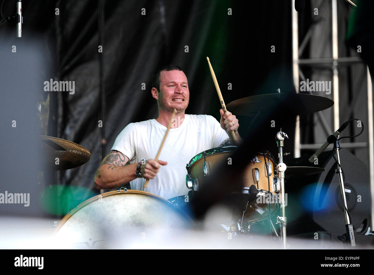 Grant Park. 01st Aug, 2015. August 01, 2015. - Delta Spirit performing live during the Lollapalooza Festival 2015 - Stock Image
