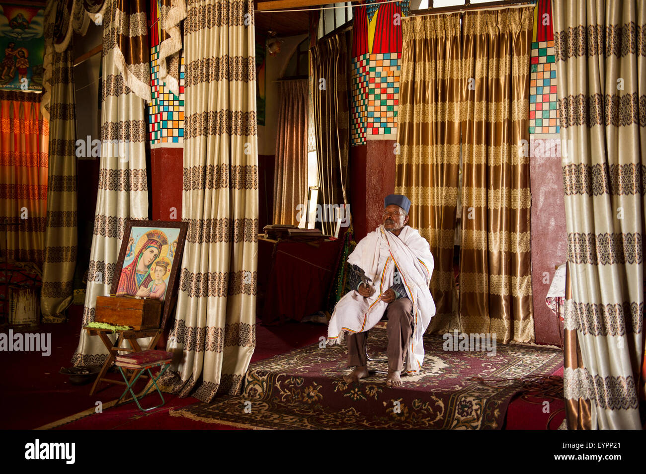 Priest in the Monastery of Maryam Tsion, Tullo Guddo Island on Lake Ziway, Ethiopia - Stock Image