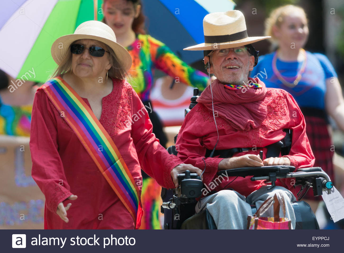 Tim Louis, municipal activist and COPE co-chair, participated in Vancouver's Pride Parade, and is seen smiling - Stock Image
