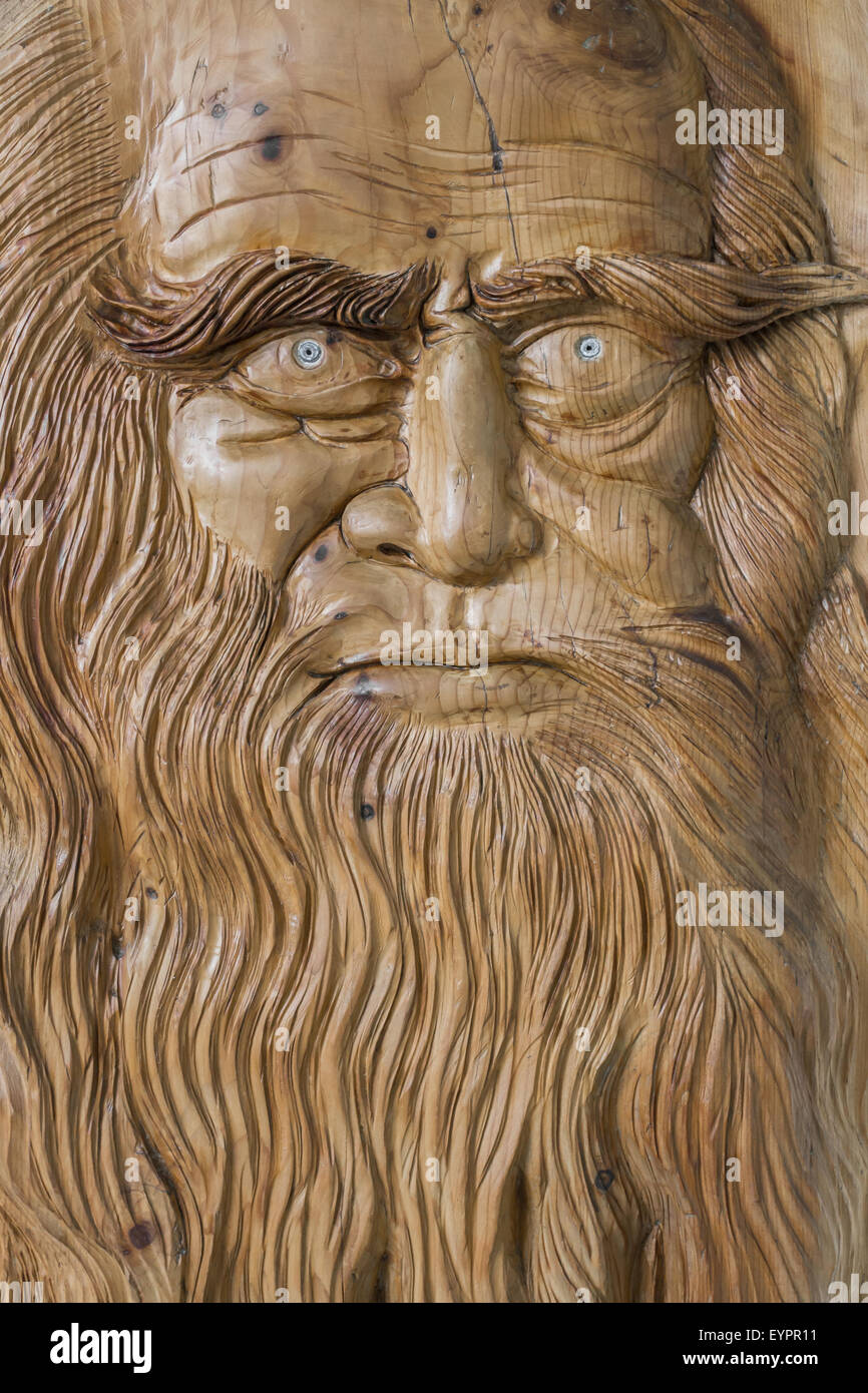 Carving in wood, with warm colors and soft, of Leonardo Da Vinci. Stock Photo
