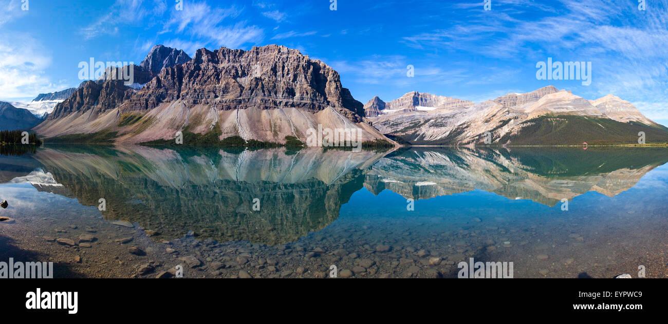 Panorama of Num-Ti-Jah Lake Banff National Park Alberta Canada - Stock Image