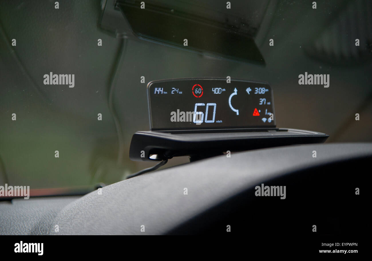 aftermarket head up display hud on a car dashboard. Black Bedroom Furniture Sets. Home Design Ideas