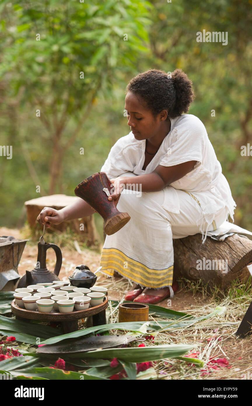 Coffee ceremony, Aregash Lodge, Yirgalem, Ethiopia - Stock Image