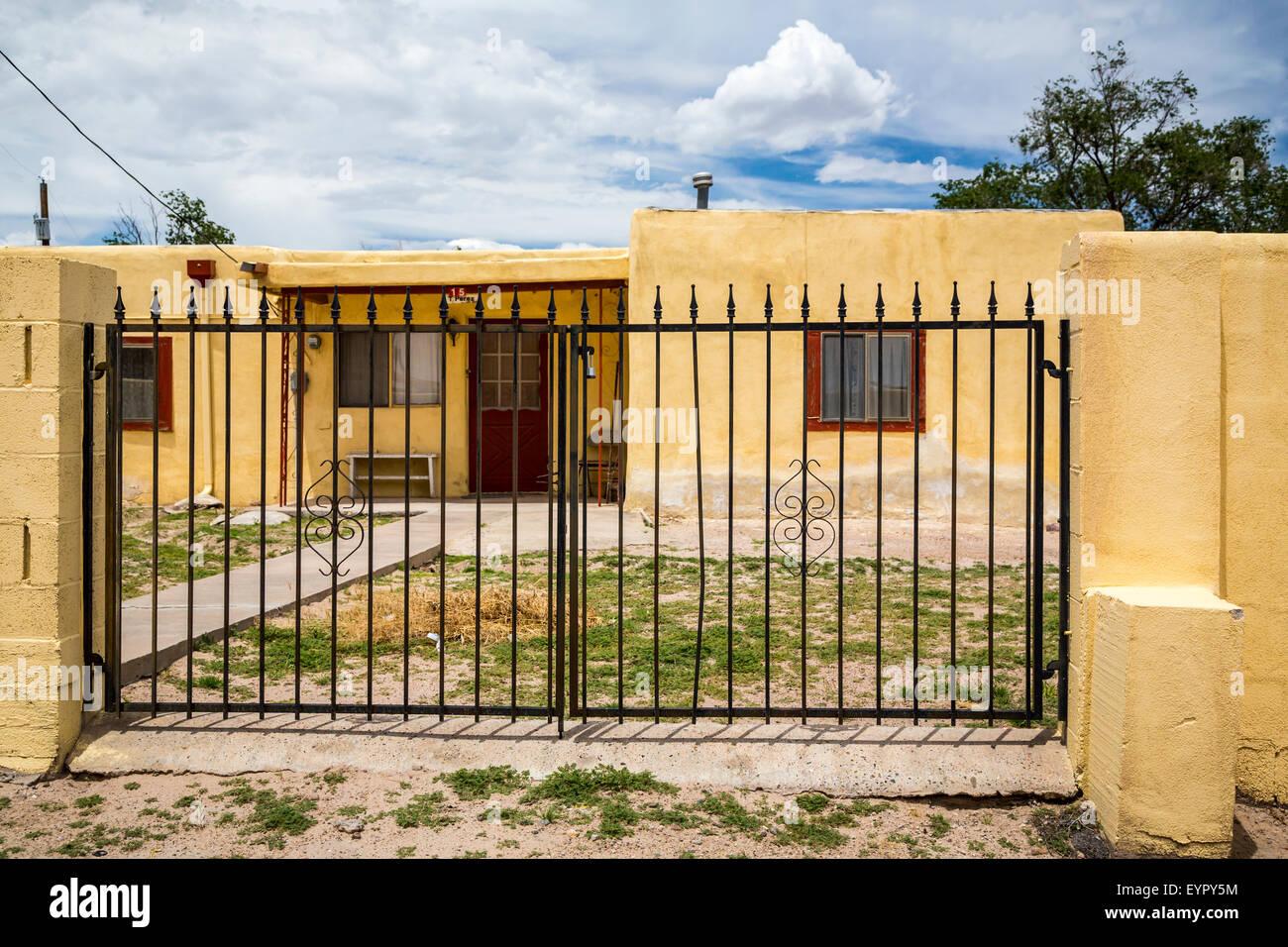 A village home in the Pueblo of Isleta, New Mexico, USA. Stock Photo