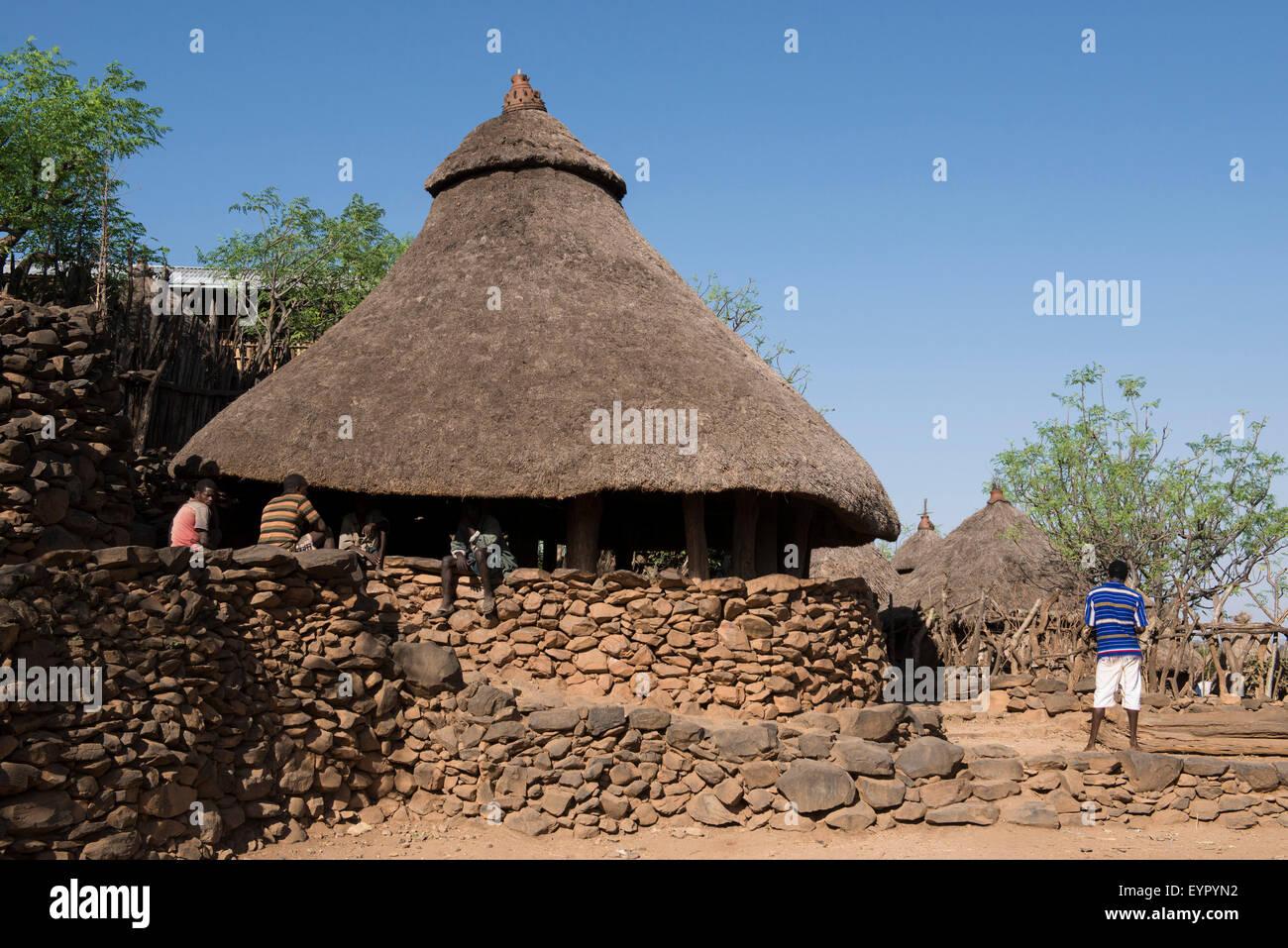 Communal house or mora in a Konso village, Konso Region, Ethiopia - Stock Image