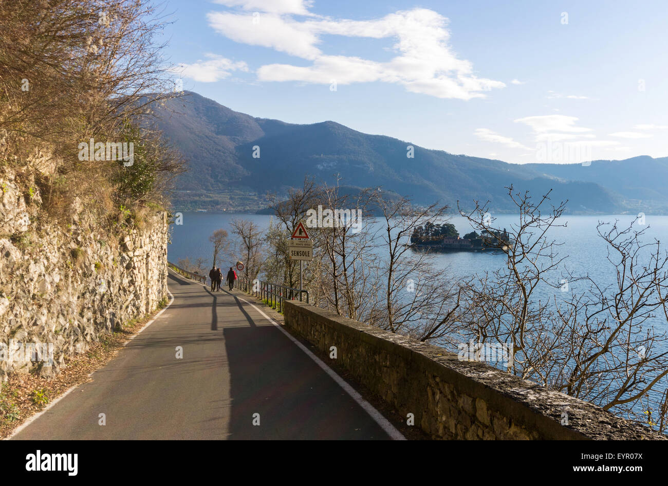 Italy, Lombardy, Iseo lake, Isola di Loreto viewed from Monte Isola - Stock Image