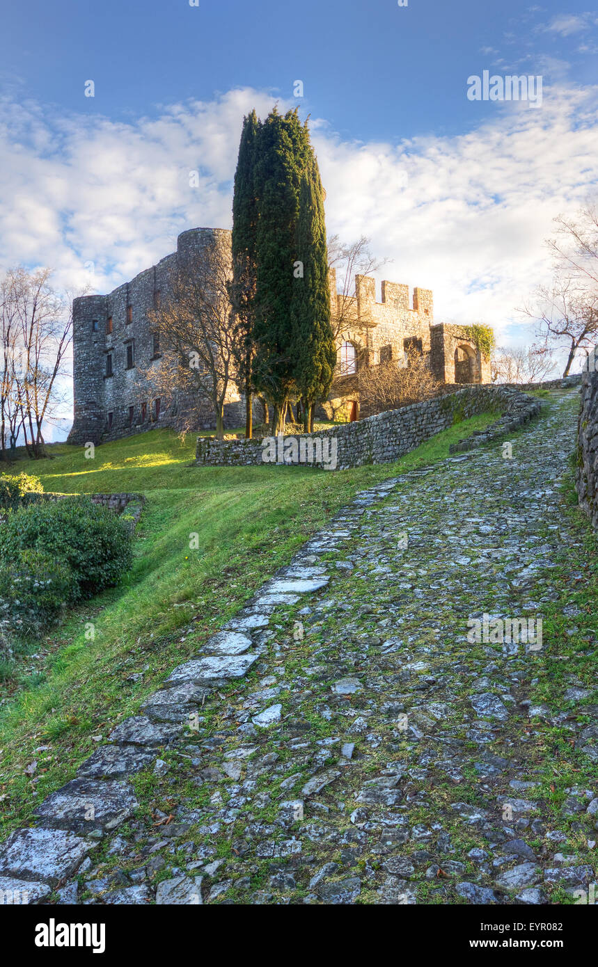 Italy, Lombardy, Iseo lake, Monte Isola, Rocca Martinengo - Stock Image