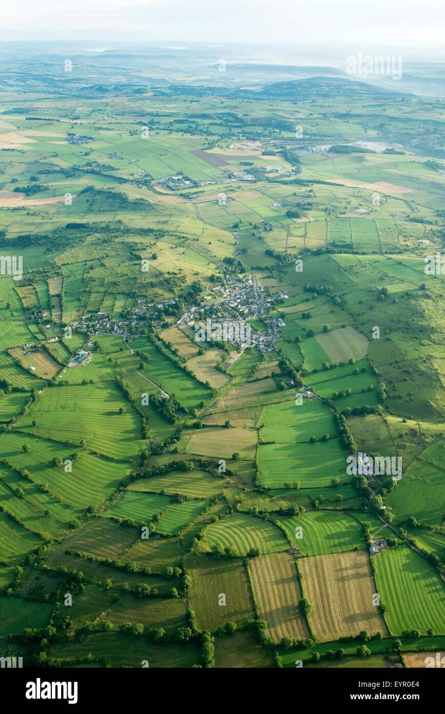 Aerial image of the Peak District in Derbyshire, England UK - Stock Image