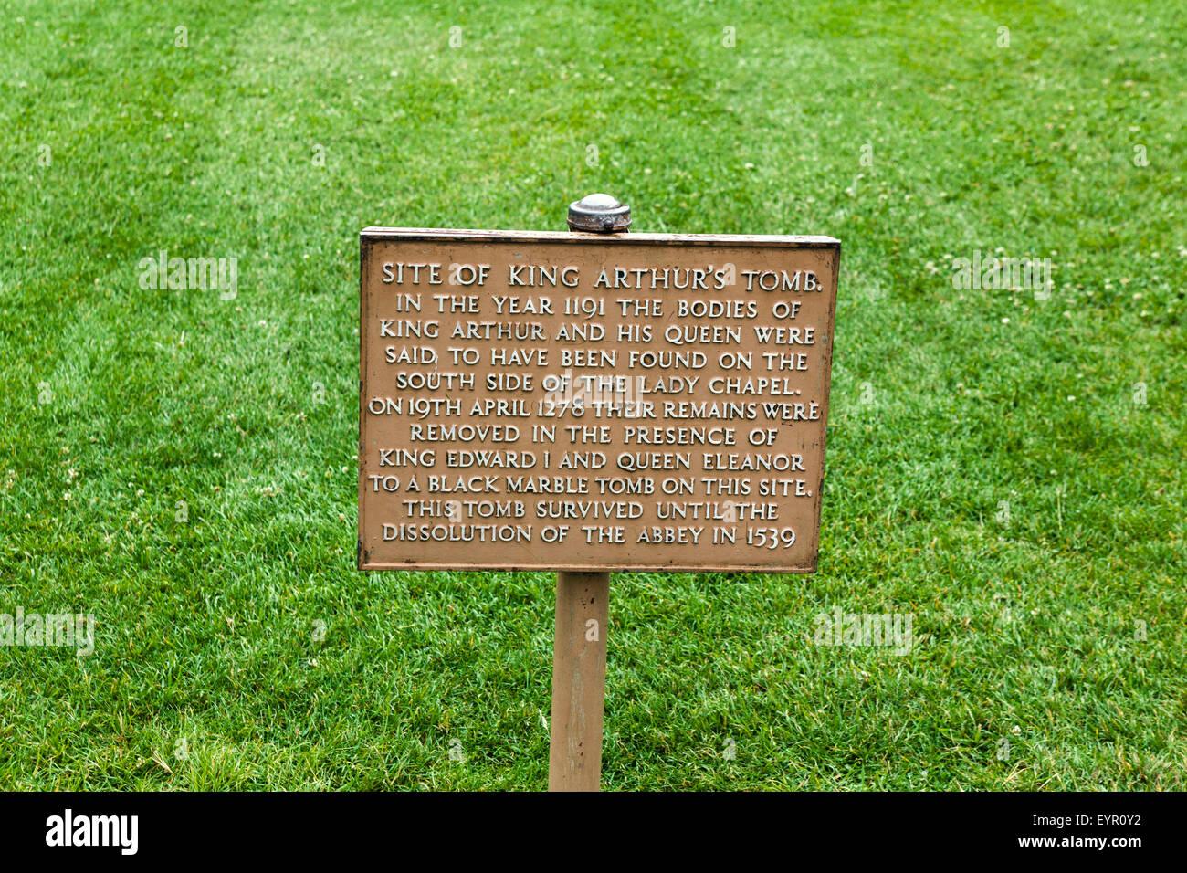 Sign marking the site of King Arthur's tomb, Glastonbury Abbey, Glastonbury, Somerset, England, UK - Stock Image