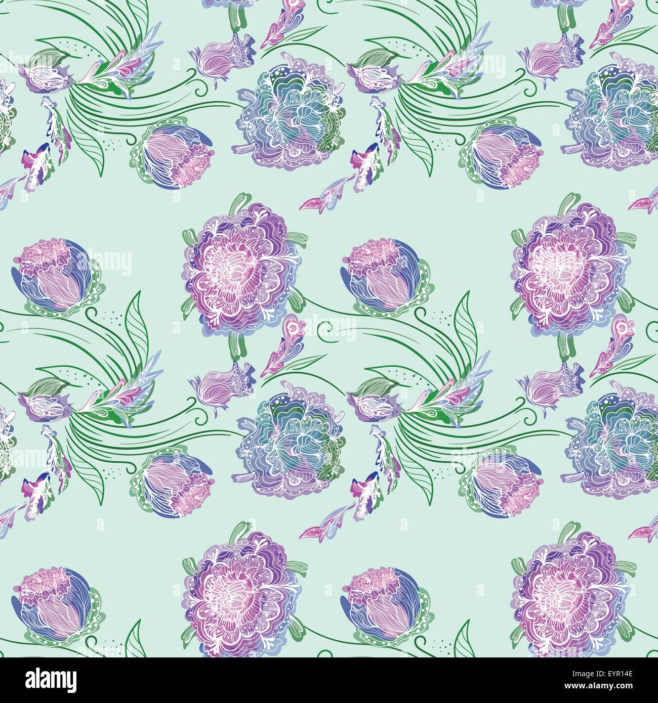 Seamless Colorful Elegant Romantic Print With Purple Outline