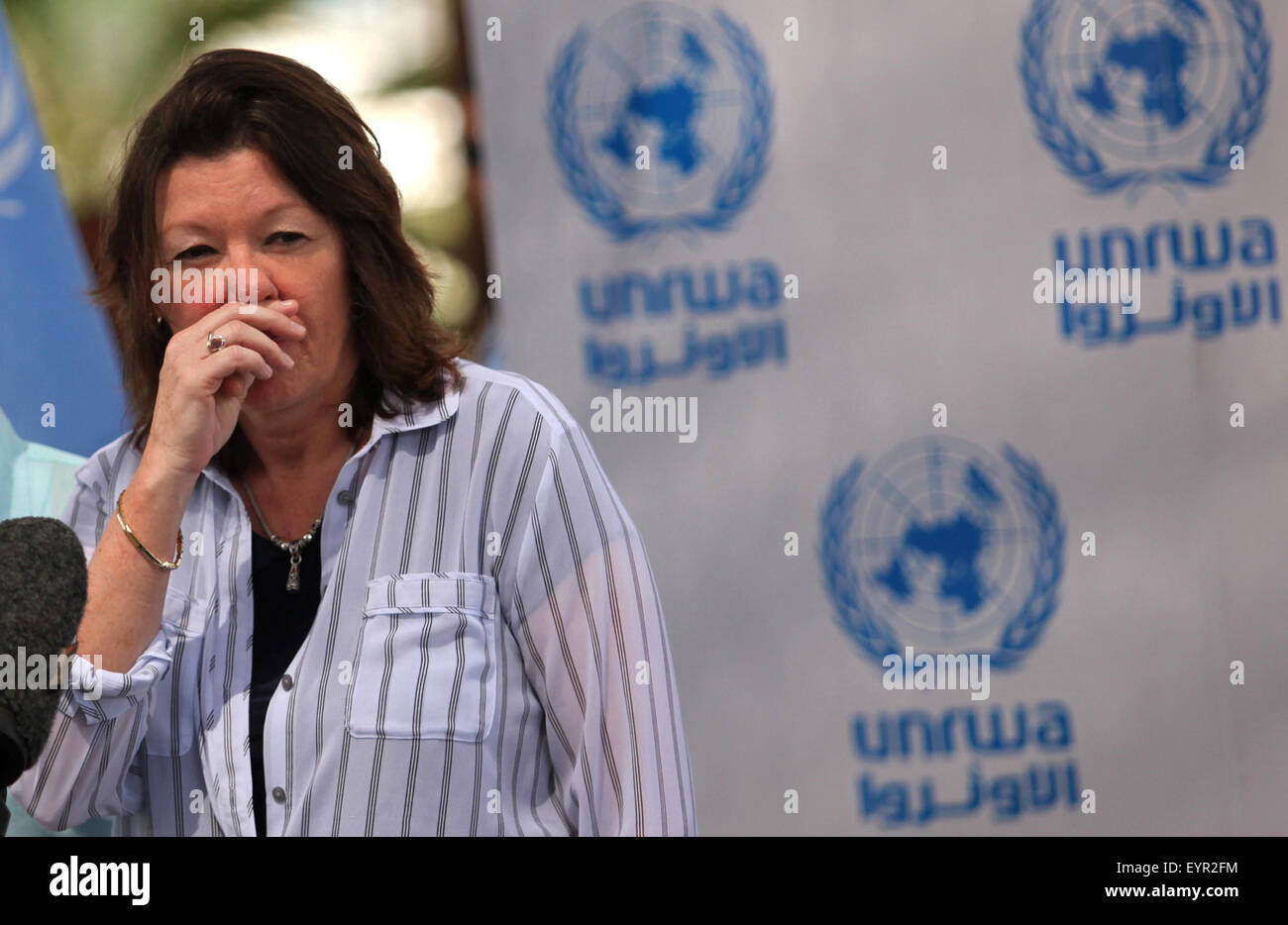 Gaza City, Gaza Strip, Palestinian Territory. 3rd Aug, 2015. UNRWA Deputy Commissioner-General Sandra Mitchell, - Stock Image