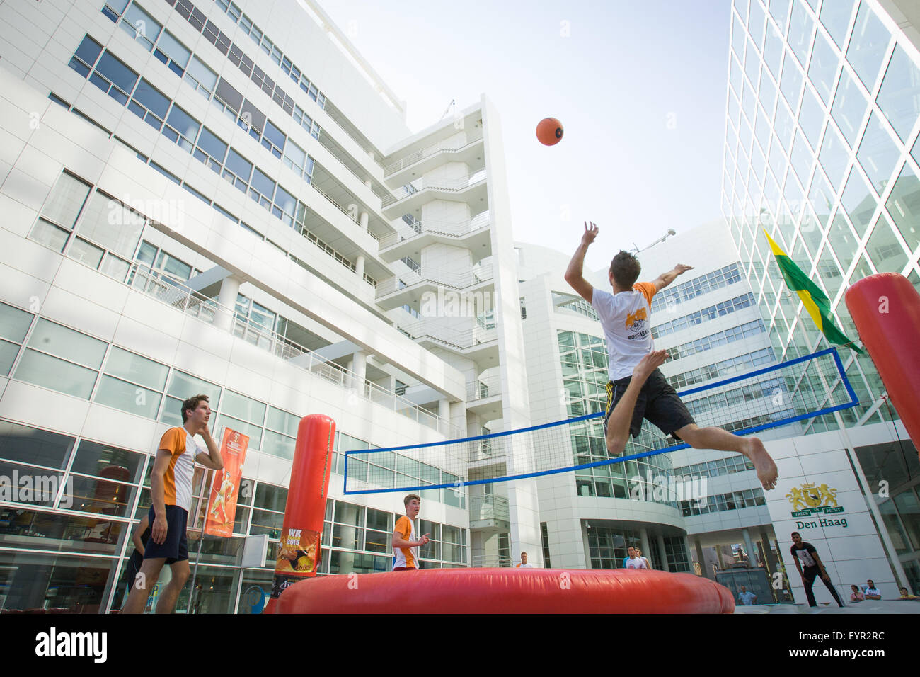 THE HAGUE - Bossaball, a combination of volleyball, football, gymnastics and capoeira is being played by the Dutch Stock Photo