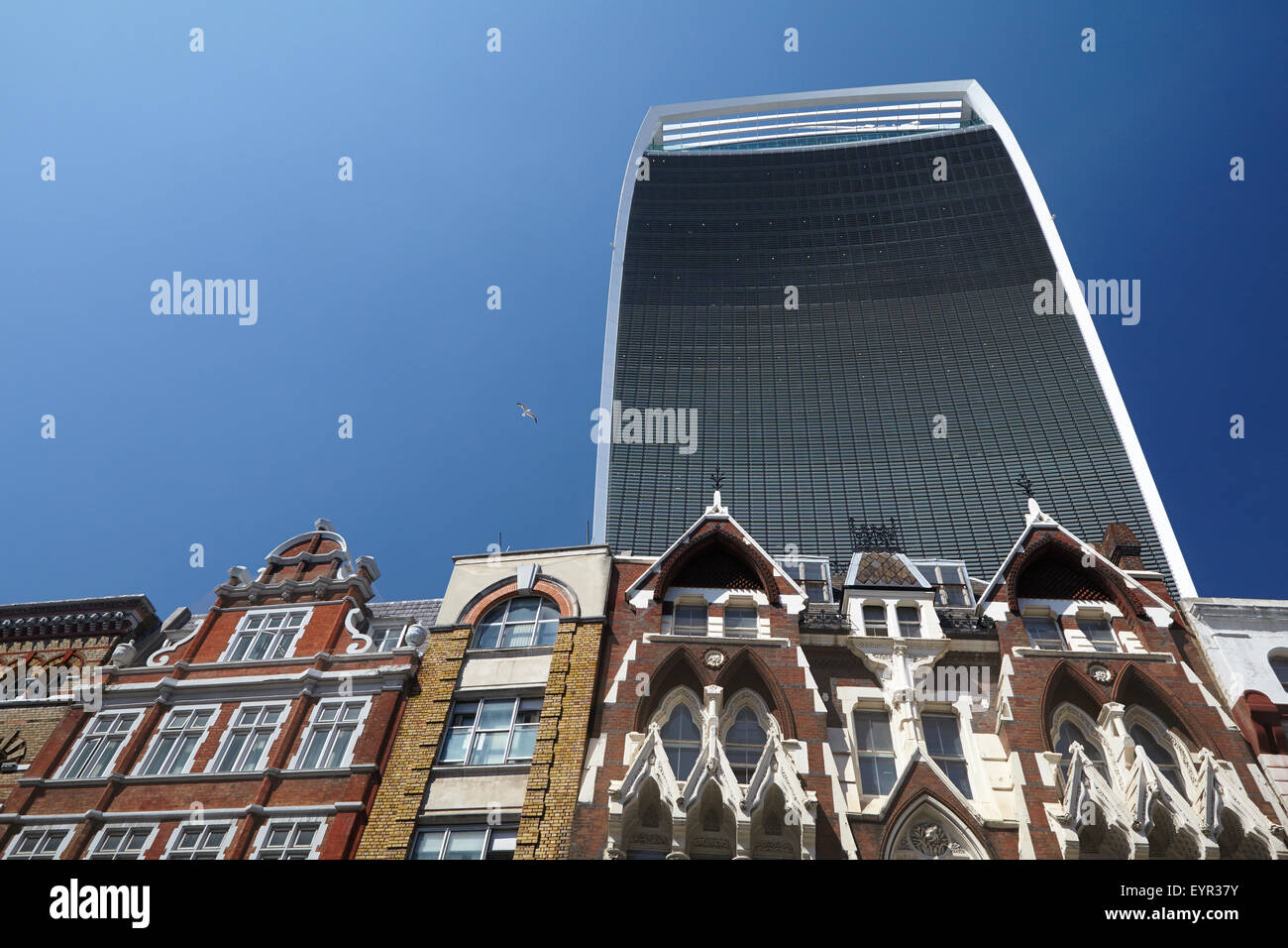 The Walkie-Talkie building (20 Fenchurch Street) seen from Eastcheap Street - Stock Image