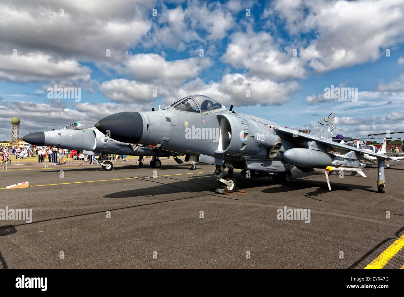 A pair of BAe Sea Harrier FA.2 jump jets on static display at RNAS Yeovilton Air Day 2015. - Stock Image