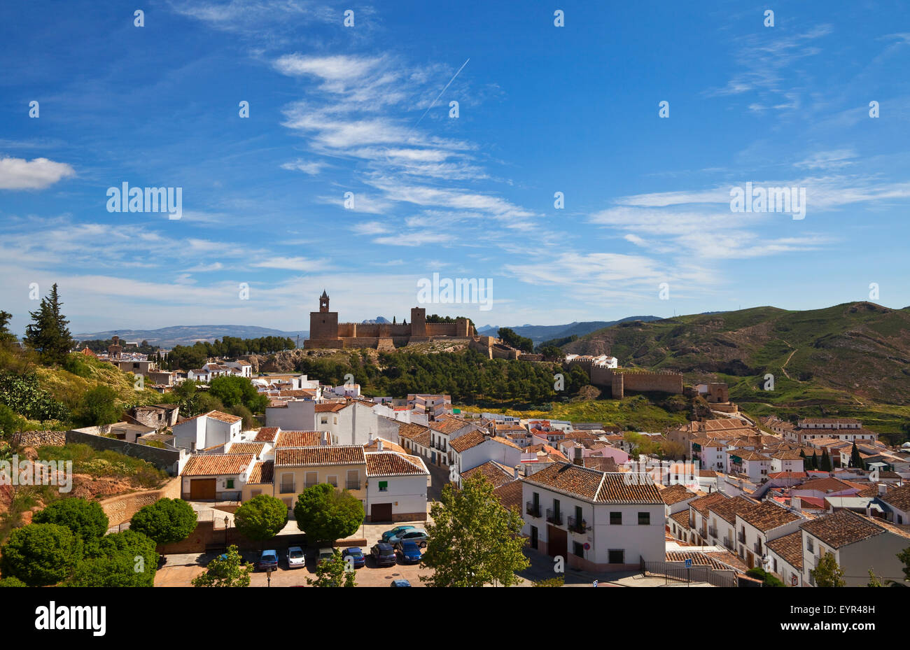 The Moorish built 8th Century Alcazaba (castle) and town of Antequera,  Province of Málaga, Andalusia, Spain - Stock Image