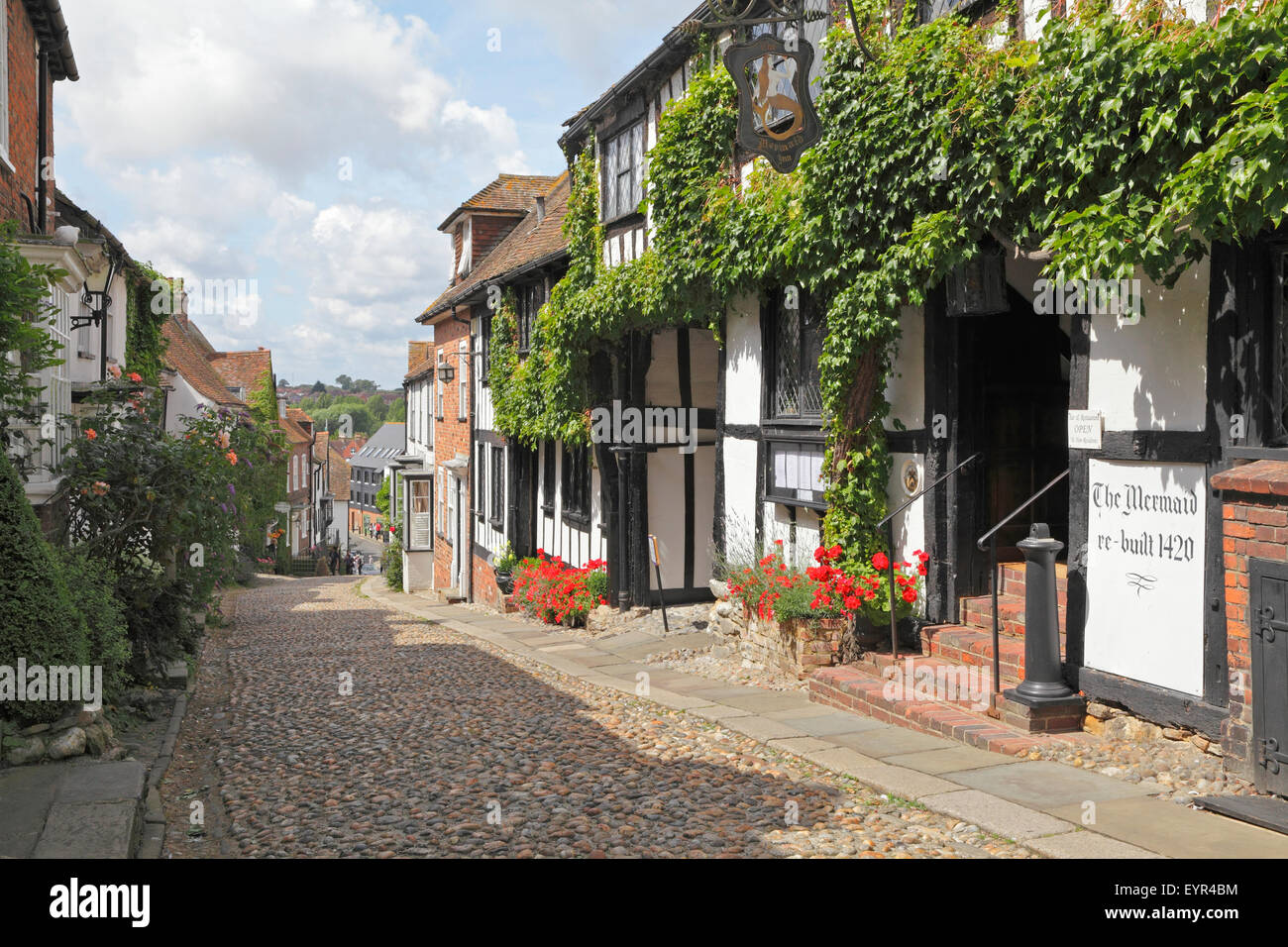 The picturesque quaint cobbled Mermaid Street, in the historic Cinque Ports town of Rye, East Sussex, England, UK - Stock Image